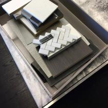 Próbki materiałowe do projektu Aua Apartamenty w Mławie.